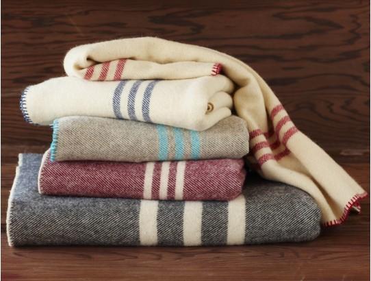 Comfy Striped Natural Wool Blanket