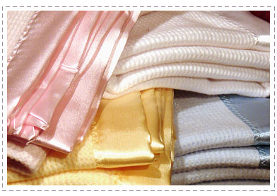 Cream Thermal Blanket With Satin Trim