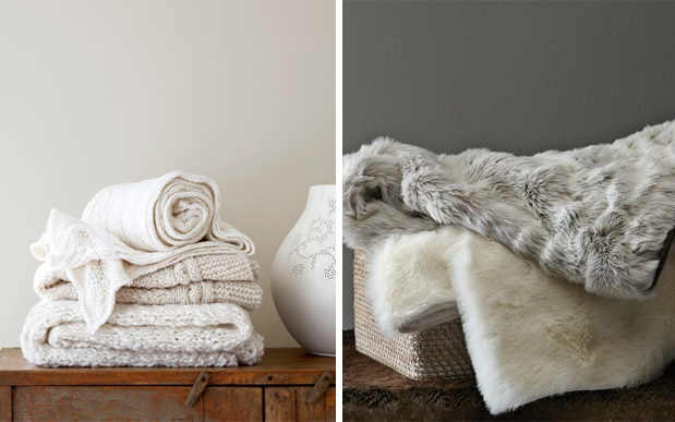 Beautiful White Faux Fur Throw Blanket