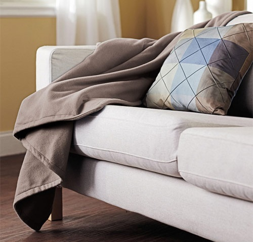 Classic Brown Sunbeam Heated Plush Electric Throw