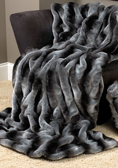 Luxurious Black Faux Fur Throw Blanket