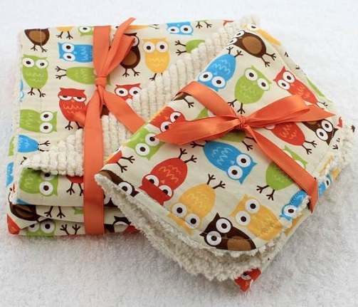 Happy Owl Chenille Baby Blanket